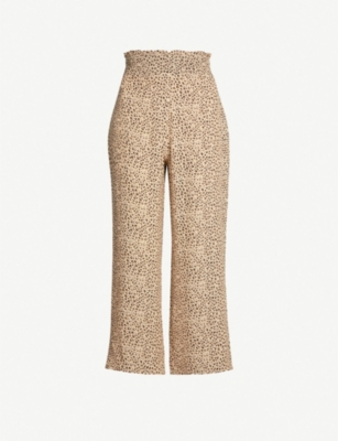 WHISTLES High-rise leopard-print crepe wide-leg trousers