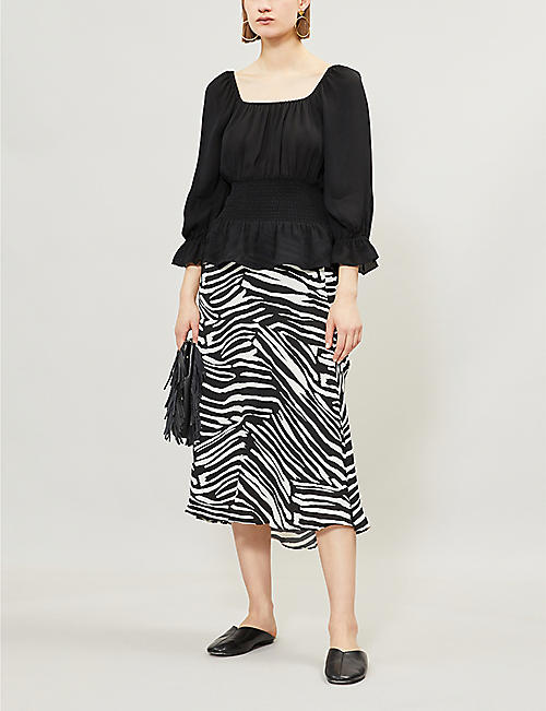 4aa0326ced71 WHISTLES Zebra-print crepe skirt