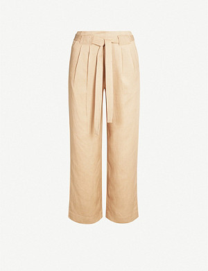 WHISTLES Belted high-rise cropped lyocell and linen-blend trousers