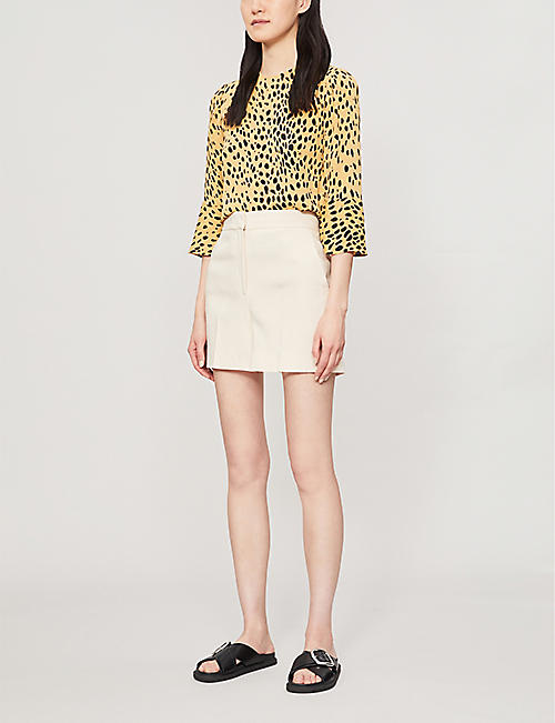 WHISTLES Animal-print relaxed-fit crepe blouse