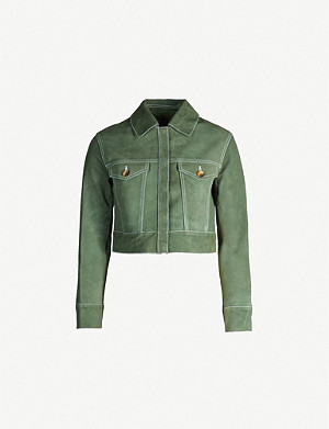 WHISTLES Grace contrast-stitch cropped suede jacket