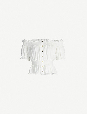 WHISTLES Off-shoulder woven bardot top