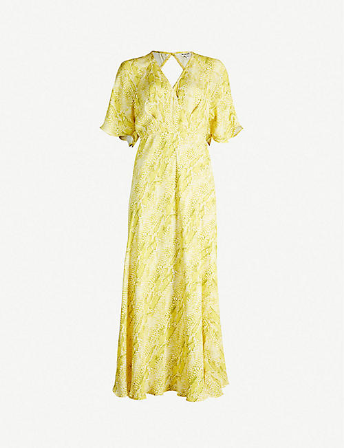 WHISTLES Python-print flared crepe dress