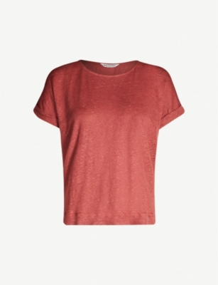 WHISTLES Turn-up cuff linen T-shirt