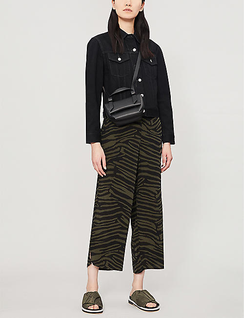 WHISTLES Zebra-print high-rise crepe trousers