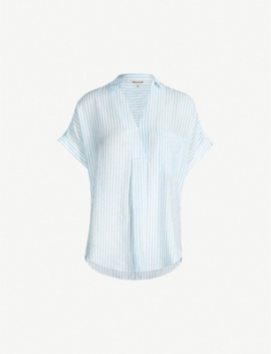 WHISTLES Lea stripe crepe shirt