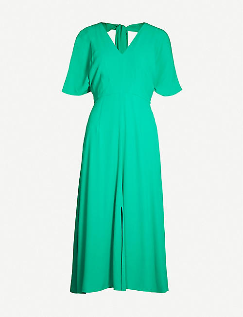 WHISTLES Zelena tie-back crepe midi-dress