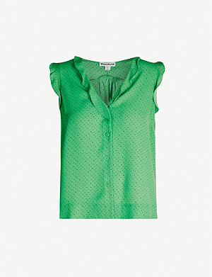 WHISTLES Emily frilled crepe top