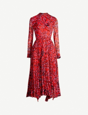 WHISTLES Jungle Cat print pleated crepe dress