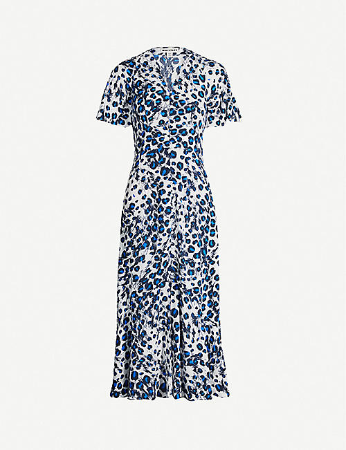 WHISTLES Graphic leopard-print crepe dress