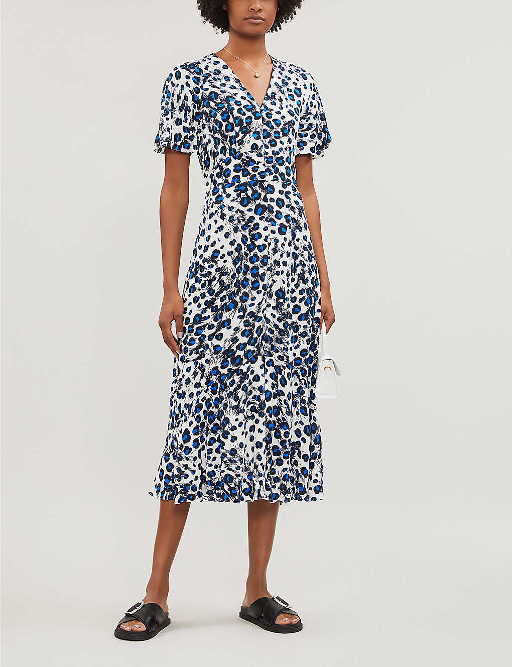 WHISTLES: Graphic leopard-print crepe dress
