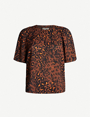 WHISTLES Brushed leopard-print crepe top