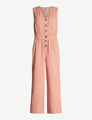 WHISTLES Ria wide-leg denim jumpsuit