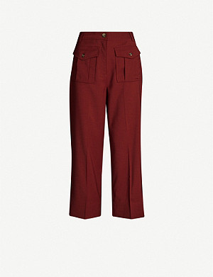 WHISTLES Ella wide-leg high-rise crepe trousers