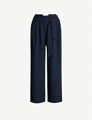 WHISTLES Tie-waist crepe trousers
