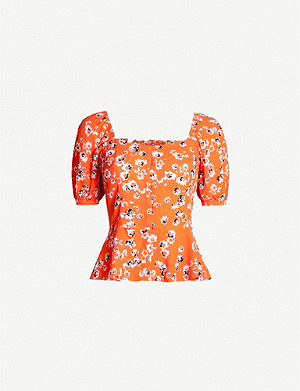 WHISTLES Bella button-front floral crepe top