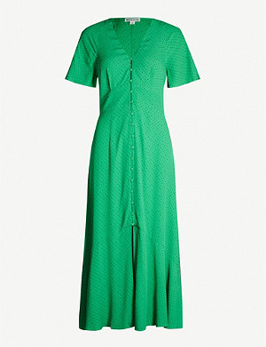 WHISTLES Micro-spot crepe midi dress
