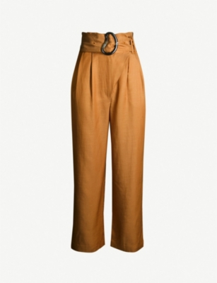WHISTLES Amelie paper bag-waist linen-blend trousers