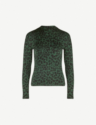 WHISTLES Animal-print high-neck cotton-blend jumper