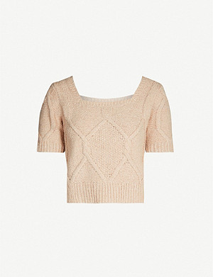 WHISTLES Square-neck cropped cotton-blend jumper