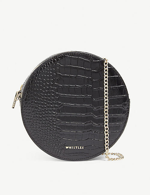 WHISTLES: Brixton circular croc-embossed leather bag