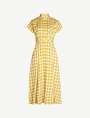 WHISTLES Ilana check woven midi dress