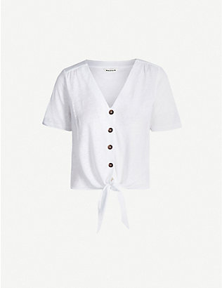 WHISTLES: Tie-front linen top