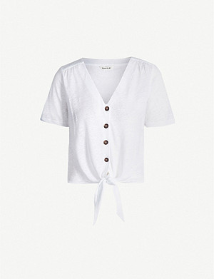 WHISTLES Tie-front linen top