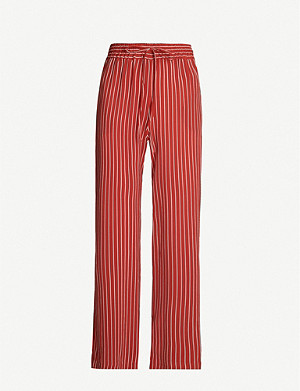 WHISTLES Striped wide-leg linen trousers
