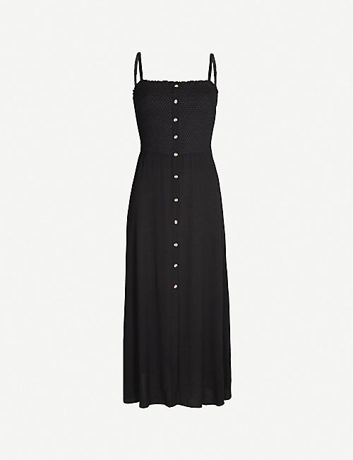 WHISTLES Gracia smocked crepe midi dress