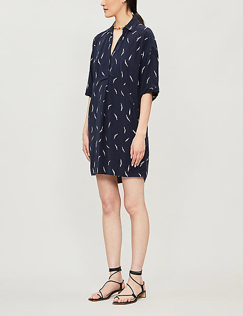 WHISTLES Graphic-print crepe dress