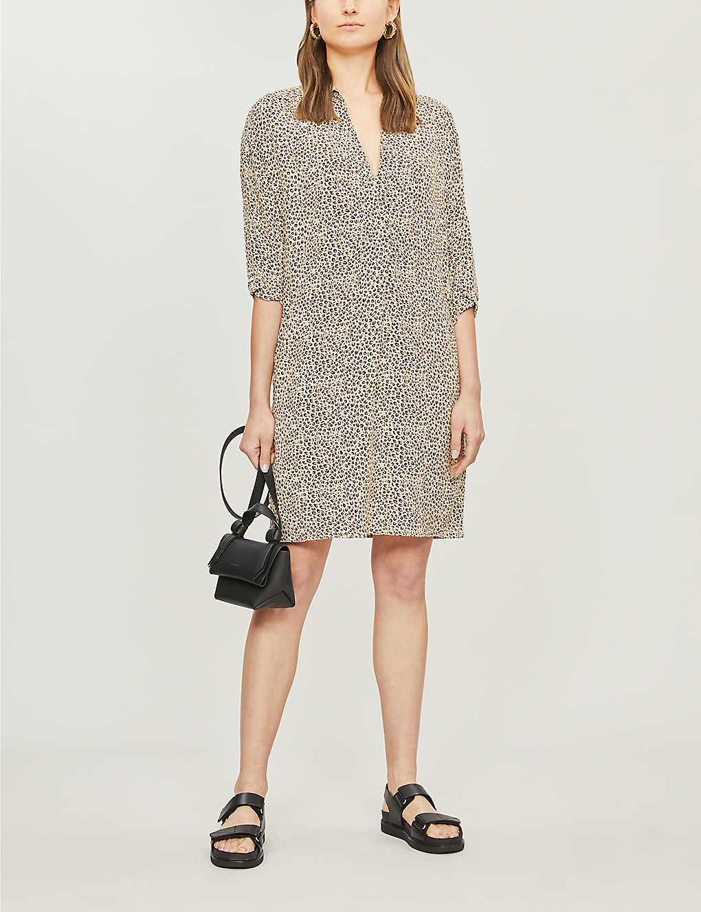 da71224c33bc WHISTLES - Lola leopard-print crepe dress | Selfridges.com