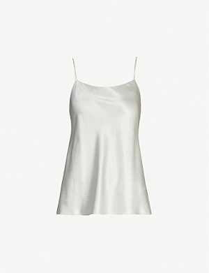 WHISTLES Scoop-neck silk-satin top