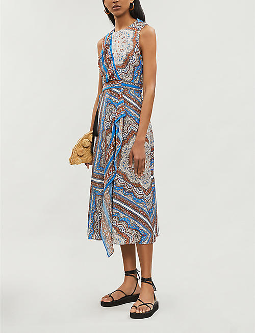 WHISTLES Aadya scarf-print satin-twill dress