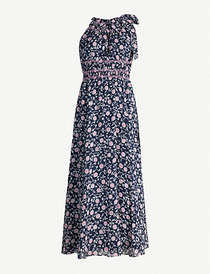WHISTLES Marsha floral-print crepe midi dress