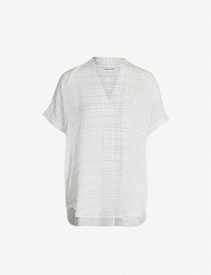 WHISTLES Lavina checked crepe shirt