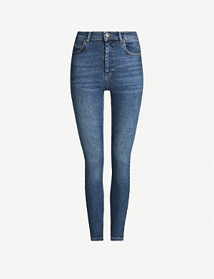 WHISTLES Faded skinny mid-rise jeans