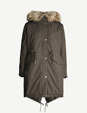 WHISTLES Cleo quilted-lining woven parka coat