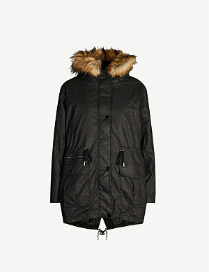 WHISTLES Willow Waxy shell and faux-fur parka coat