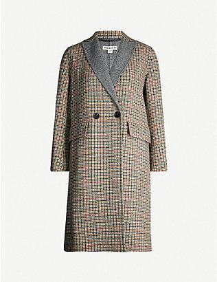 WHISTLES: Houndstooth checked wool-blend coat