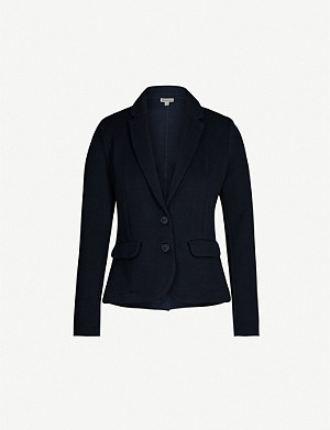 WHISTLES Notch-lapels padded-shoulders cotton-jersey jacket