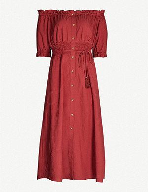 WHISTLES Simma off-the-shoulder shirred cotton-poplin dress