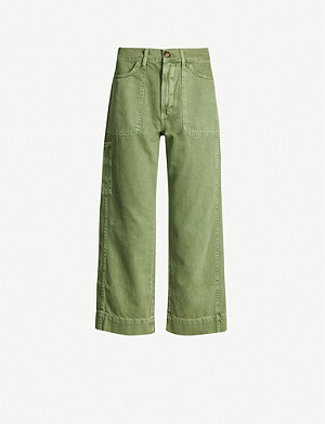 WHISTLES Cropped cotton-twill cargo trousers
