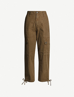 WHISTLES Steffi drawstring-hem cotton trousers