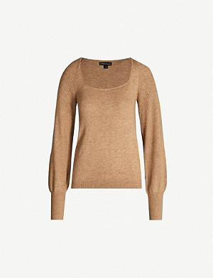 WHISTLES Square-neck knitted jumper