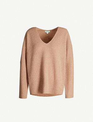 WHISTLES V-neck ribbed wool jumper