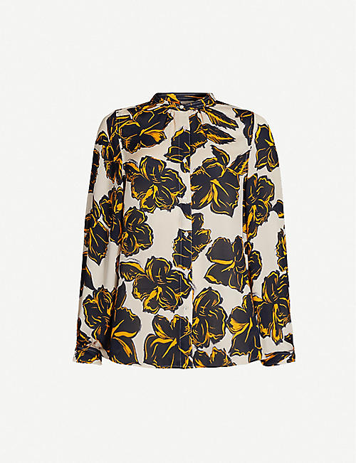WHISTLES Floral-print slim-fit silk shirt
