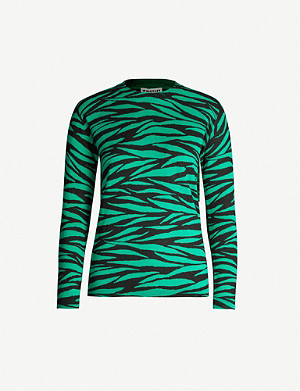 WHISTLES Zebra-print cotton-knit jumper