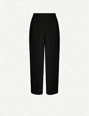 WHISTLES Wide-leg high-rise crepe trousers