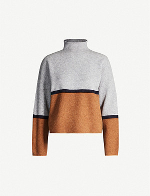 WHISTLES Colour-blocked turtleneck wool jumper